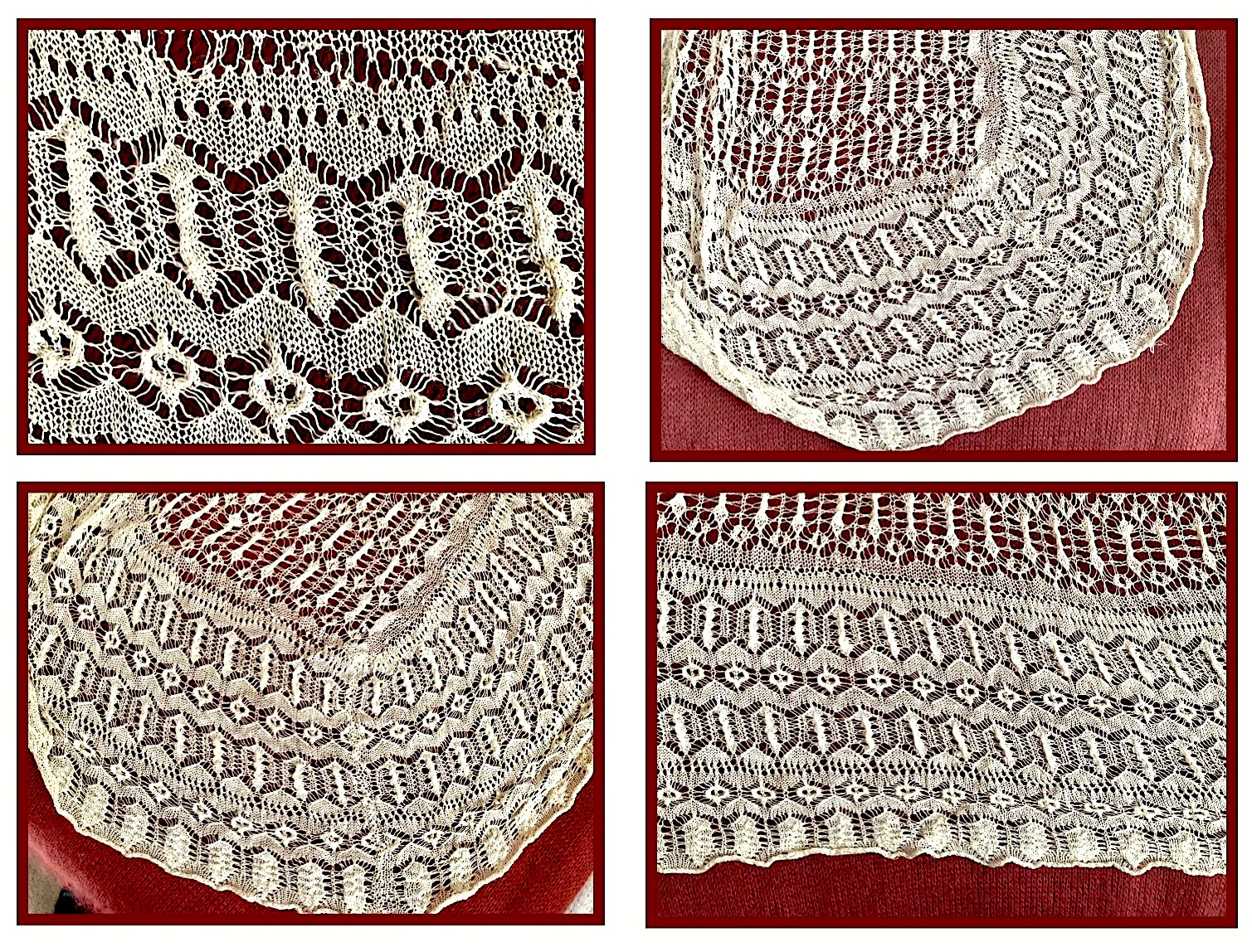 4 Views, Knitted 19th Century Shawl