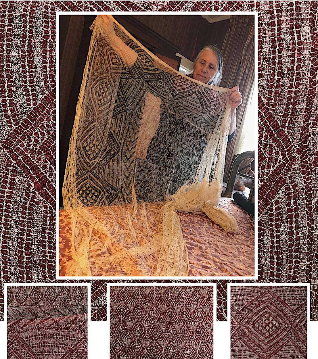 Hand Knit Lace Shawl 1800's